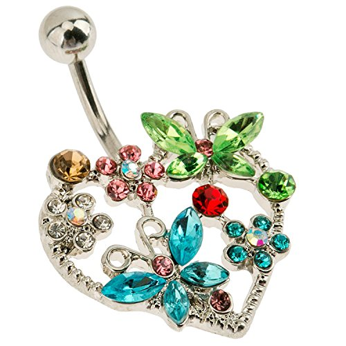 Belly Button Ring 316L Surgical Steel Navel Piercing Silver Bananabell Barbell 14 Gauge With Butterflies, Flowers and Colorful Zirconias Crystals Rhinestones (Butterfly Silver Navel Ring)