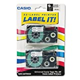 Casio - Tape Cassettes for KL Label Makers, 9mm x 26ft, Black on Clear, 2/Pack XR9X2S (DMi PK