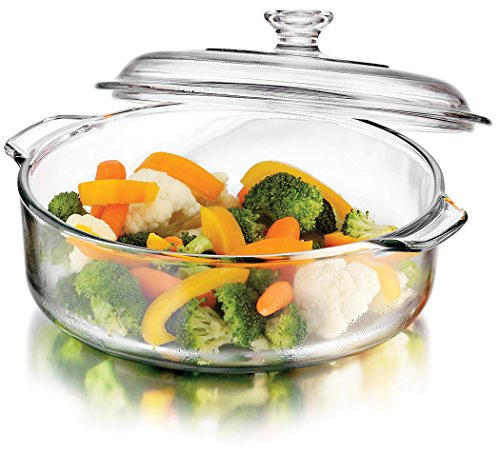 Round With Lid Casserole - Libbey Baker's Basics Glass Casserole Dish with Cover, 3-quart