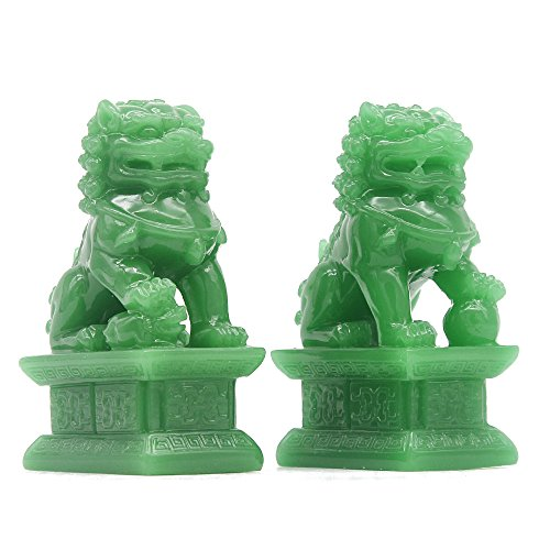 JSY Feng Shui Decor Originality Statues Beijing Lions Cultural Statue Pair Fu Foo Dogs Guardian Lion Statues Best Housewarming Congratulatory Gift to Ward Off Evil Energy - Lion Chinese Statues