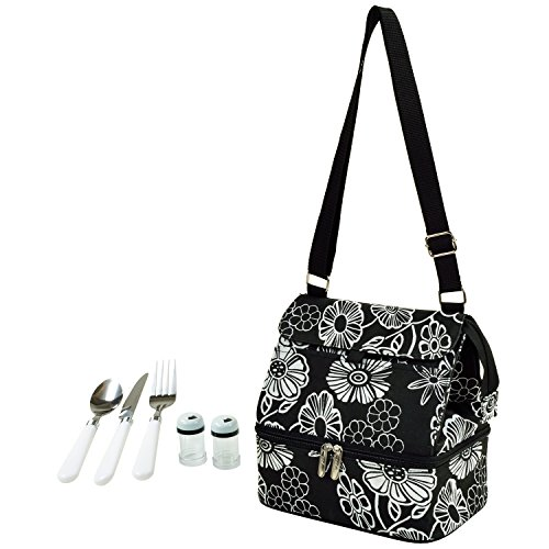 Willow Cooler Wine Basket - Picnic at Ascot Fashion Insulated Lunch Bag With Service For One, Night Bloom