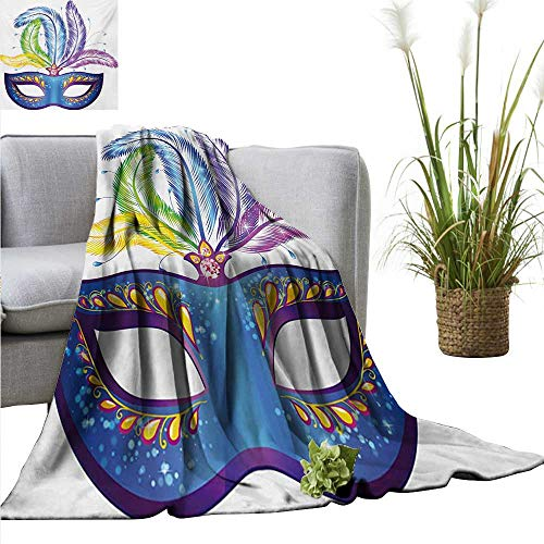 AndyTours Bed Blanket,Mardi Gras,Blue Ornate Venetian Festival Mask with Feathers Masquerade Parade Preparations,Multicolor,for Bed & Couch Sofa Easy Care 30
