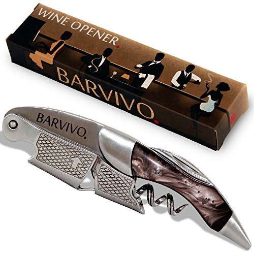 Professional Waiters Corkscrew by Barvivo - This Bottle Opener for Beer and Wine Bottles is Used by Waiters, Sommelier and Bartenders Around the World. Made of Stainless Steel and Black (Super Waiters Corkscrew)