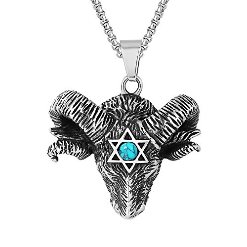 JAJAFOOK Mens Stainless Steel Satan Star of David Ram Worship Baphomet Ram Goat Head Pendant Necklaces