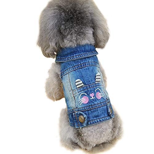 OSPet Dog Denim Vest Cute Pet Fashion Outfit Puppy Jacket Dog Jumpsuit Pet Coat Overall Small/Medium Dog & Cat