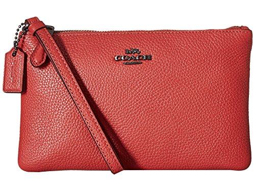 COACH Women's Polished Pebble Small Wristlet Dk/Washed Red One (Small Coach Bag)