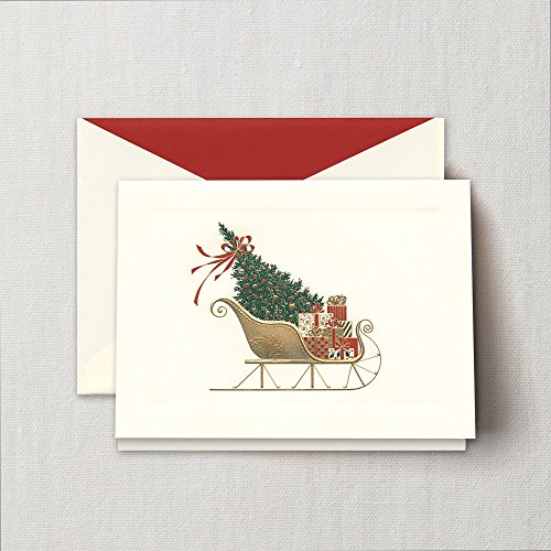 - Crane Engraved Santa's Sleigh Greeting Card, Set of 20 Cards