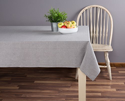 Sticky Toffee Cotton Tablecloth 60 in x 102 in, Gray Solid, Seats 8 People