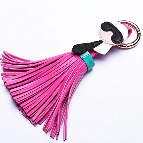 Lafayette Car (Women Lafayette Doll Leather Tassel Keychain Car Circle Key Rings Gift Bag Handing Buckle Charms (Rose Red))