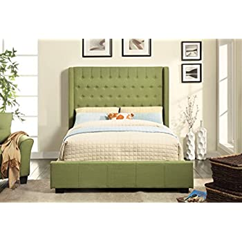 Furniture Of America Bellavie Wingback Platform Bed With Button Tufting,  Queen, Green