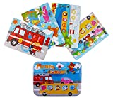 Jigsaw Puzzles for Kids, 4-Pack 4 Complexities Wooden Puzzles with an Iron Box, Best for 3-5 Years Old Children