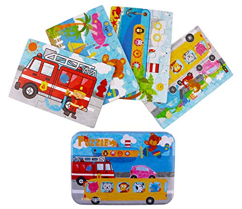 (Vileafy Jigsaw Puzzles for Kids, 4-Pack 4 Complexities Wooden Puzzles with an Iron Box, Best for 2-5 Years Old Children)