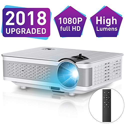 1080P Projector,Xinda 5.5 inch HD Projector with 200Display.3500 LUX LED Video Projector with 60,000 Hours Lamp Life,Home Cinema Theater Support Smartphones Blu-ray DVD,Laptaps,HDMI,VGA,USB,AV,TF BOX