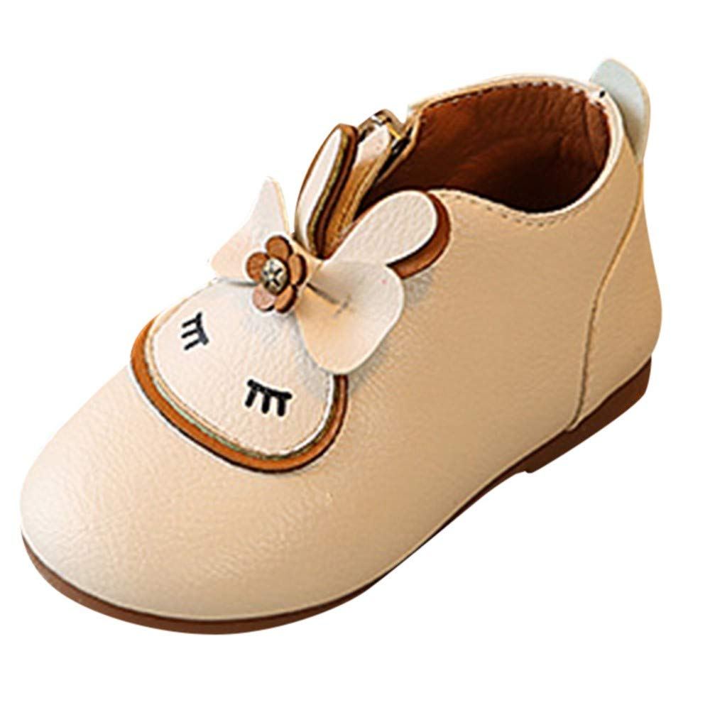 XUANOU Children Girls Rabbit Cartoon Zipper Bowknot Boots Princess Single Shoes