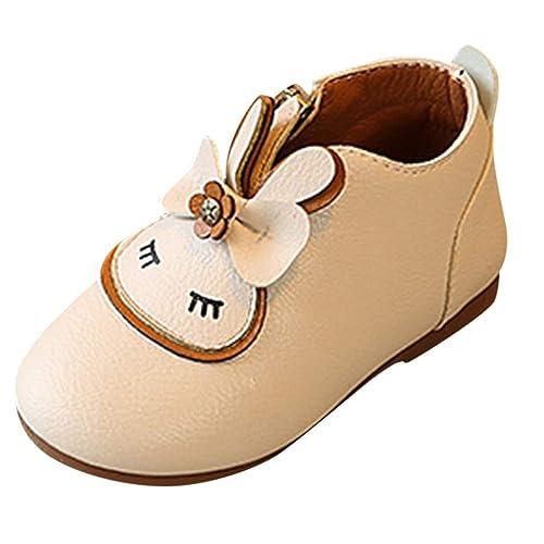 Botas de Cuero para Bebé Niñas Invierno Moda PAOLIAN Botines Planos Espesar Zapatos de Vestir de