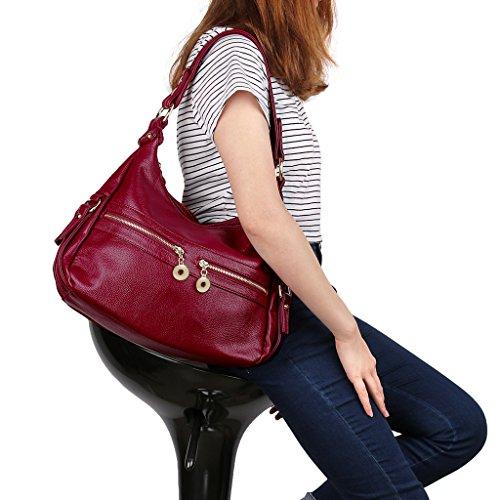 Bandoulière Chouette Chic Rouge Noir Doux et en Porté Style Femme UTO Sac Similicuir Epaule 4 zwxqvXwg