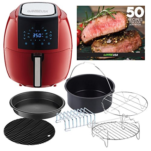 GoWISE USA Air Fryer with 6-Piece Accessory Set + 50 Recipes for your Air Fryer Book (5.8-QT, Chili Red)
