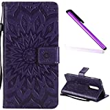 EMAXELER OnePlus 6 Case 1+ 6 Cover Stylish Wallet 3D Embossed Kickstand Flip Sun Flower Three Dimensional Cards Slot Cash Pockets PU Leather for OnePlus 6 Sun Purple