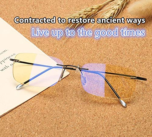 Blue Light Blocking [Rimless frame] Computer Glasses, Anti UV Eye Strain Clear Lens Reading Video Eyewear