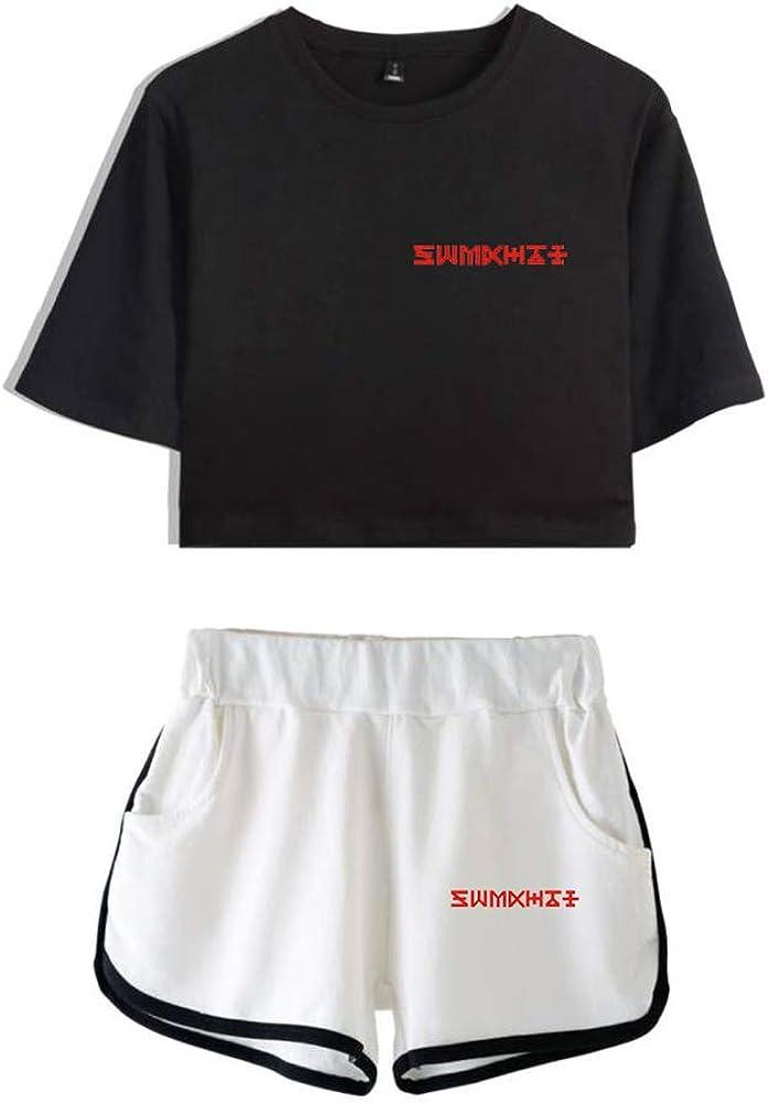 KPOP Monsta X Conjuntos Deportivos para Mujer Ch/ándales Deportiva Camiseta y Pantalones Cortos Cuello Redondo Crop Top Deportiva Corto T-Shirt Verano para Yoga Fitness