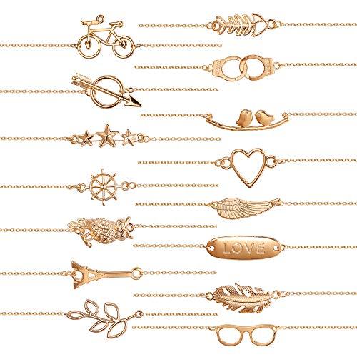 Finrezio 15 PCS Charm Bracelets Set Women Assorted Cute Animal Chain Bracelets