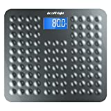 """Accuweight Anti-skid Digital Bathroom Body Weight Scale with 3.6"""" Backlight Display and Step-on Technology, 400lb/180kg, Gray"""