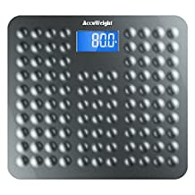 "Accuweight Anti-skid Digital Bathroom Body Weight Scale with 3.6"" Backlight Display and Step-on Technology, 400lb/180kg, Gray"