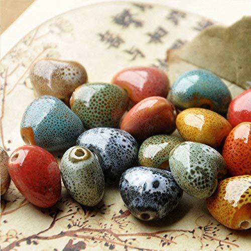 (Calvas 15mm Heart Ceramic Beads for Women Men Bracelet Material Bead Mixed Color DIY Loose Porcelain Charm Beaded for Jewelry - (Color: Color Mixing, Item Diameter: 15mm))