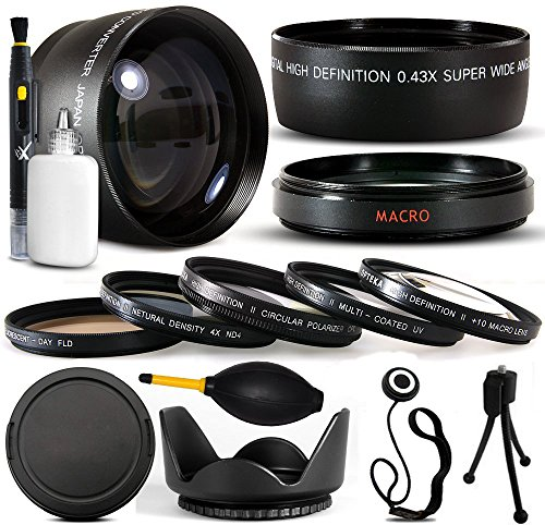 10 Piece Ultimate Lens Package For the Canon PowerShot G10 G11 G15 G16 Digital Camera Includes .43x High Definition II Wide Angle Panoramic Macro Fisheye Lens + 2.2x Extreme High Definition AF Telephoto Lens + Professional 5 Piece Filter Kit (UV, CPL, FL, ND4 and 10x Macro Lens) + Tube Adapter for the Canon LA-DC58L G15 G16 + Flower Lens Hood + Deluxe Lens Cleaning Kit + LCD Screen Protectors + Mini Tripod + 47stphoto Microfiber Cloth Photo Print ! (Telephoto Wide Angle Macro 10x Cpl Lens)