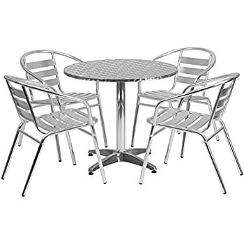 Amazon.com : Flash Furniture 23.5\'\' Square Aluminum Indoor-Outdoor ...