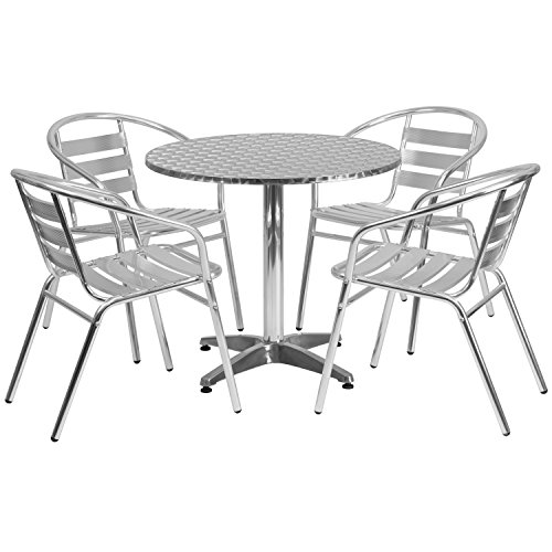 Flash Furniture 31.5'' Round Aluminum Indoor-Outdoor Table Set with 4 Slat Back Chairs - Round Slat