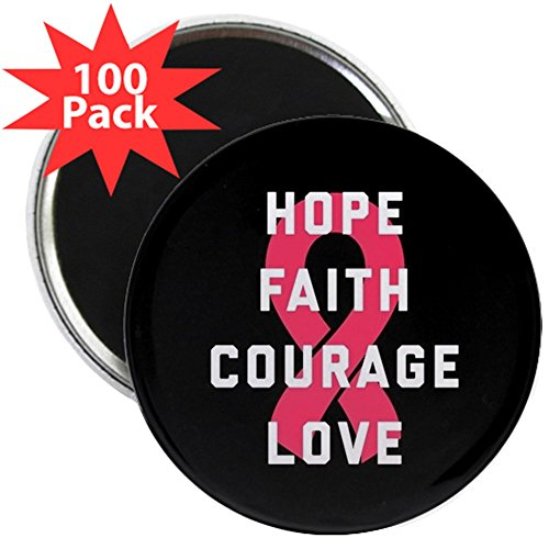 CafePress - Hope Faith Courage Love - 2.25'' Magnet (100 pack) by CafePress