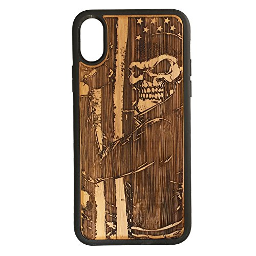 (Biker Skull iPhone Case Cover iPhone XR iMakeTheCase Eco-Friendly Bamboo Wood Cover + TPU Wrapped Edges USA American Flag Motorcycle Chopper Hog Skeleton Gang)
