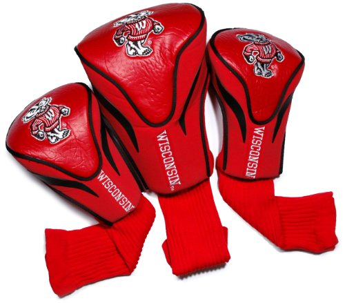 Team Golf NCAA Contour Golf Club Headcovers (3 Count), Numbered 1, 3, & X, Fits Oversized Drivers, Utility, Rescue & Fairway Clubs, Velour lined for Extra Club -