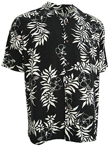 Hawaiian Shirt Camp Black Floral Hibiscus Aloha Casual (XL) (Silk Hawaiian Camp Shirt)