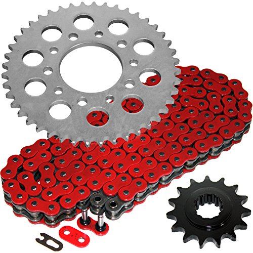 (Caltric Red O-Ring Drive Chain & Sprockets Kit Fits HONDA CBR600F CBR-600F Hurricane 600F 1987-1990)