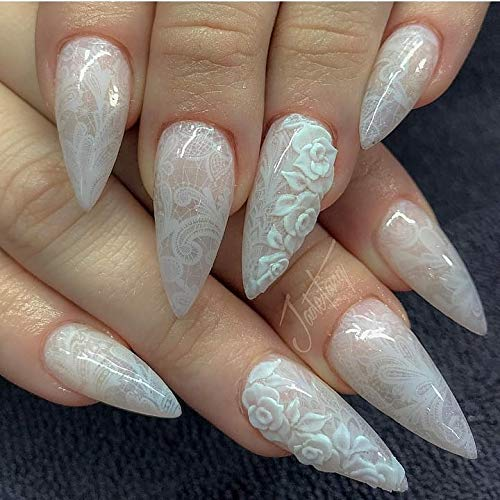 Decal Medallion - 12 sets white lace lingerie NAIL DECALS modern Boho Mandala Mehndi HENNA nail art foral geometry design medallion TRIBAL art NAIL WRAPS sugar skull day of the dead nail stickers