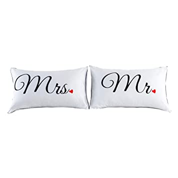 Amazon.com: NTBED Parejas fundas de almohada Queen King ...