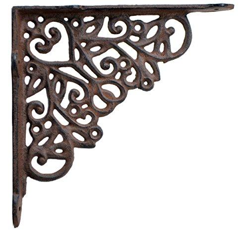 - Decorative Shelf Bracket Ornate Heart Brace Rust Brown Cast Iron 8.25