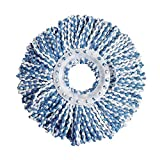 Mop Head Refill Free Rotation Microfiber Heavy Duty Looped-End String Cleaning Mop Head Replacement (Blue)