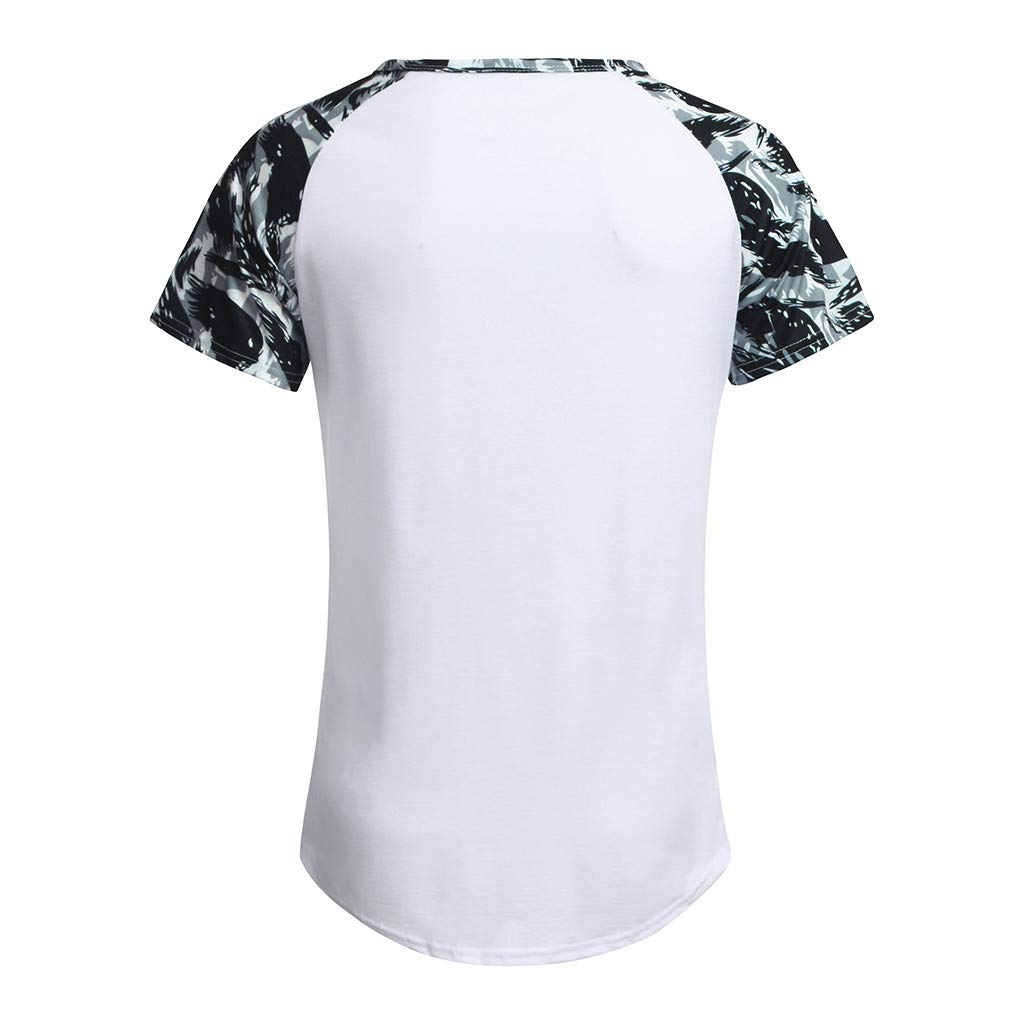 Gibobby Men Shirts Casual Summer Camouflage Printed Crew Neck Short Sleeve Big and Tall O-Neck Tops Blouse T-Shirt