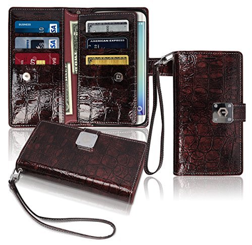s6-edge-wallet-case-glossy-9-pockets-for-6-id-credit-card-3-cash-slots-power-magnetic-clip-with-wris