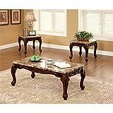 Furniture of America Burseel 3 Piece Coffee Table Set in Dark Oak