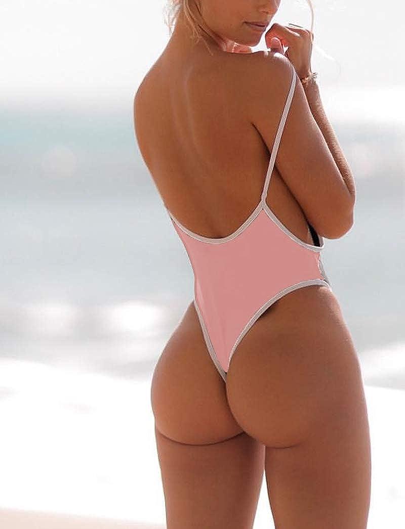 11e160f29cb FITTOO Women Monokini Retro Thong One Piece Swimsuit Deep V High Cut Sexy  Trikini Cheeky Backless at Amazon Women's Clothing store: