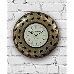 Wooden Round Decorative Wall Clock Ornate Floral Golden with Roman Numeral Clock Face 12 Inch Vintage