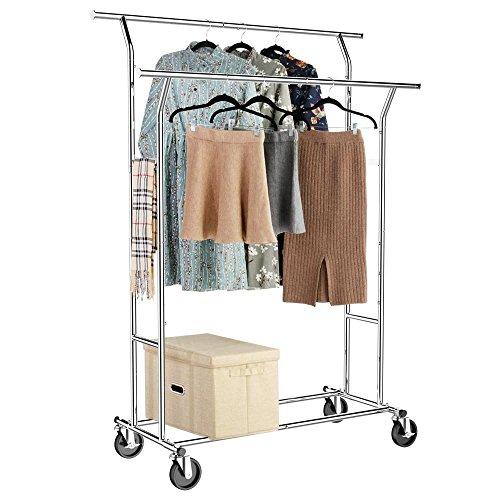 Yaheetech Adjustable Double Rail Clothing Rack Commercial Grade Double Rod Garment Rack Chrome Portable,Silver by Yaheetech
