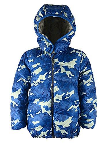 Century Star Kids Hooded Camouflage Winter Coat Child's Long Sleeve Outwear Windproof Warm Down Jacket Blue Camo 8/10