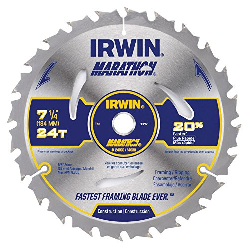 Irwin Tools 240304PK Marathon Carbide Cordless Circular Saw Blade, 7 1/4-Inch, 4-Pack