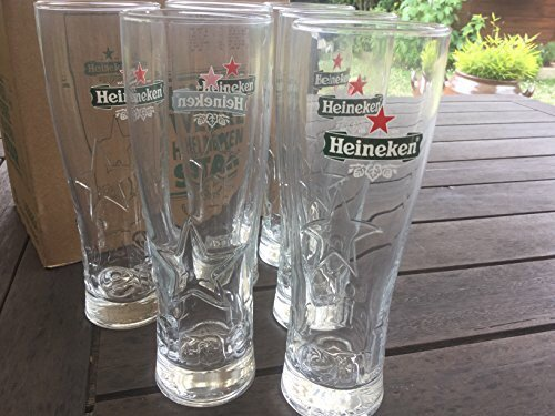 Ileauxtresors - Lote de 6 vasos de tubo Star Heineken de 25 cl.: Amazon.es: Hogar