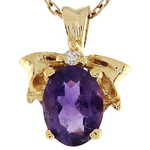 Jewelry Liquidation 14k Gold Amethyst Diamond Accent Ribbon Cute Ladies 1.42cm Slide Pendant